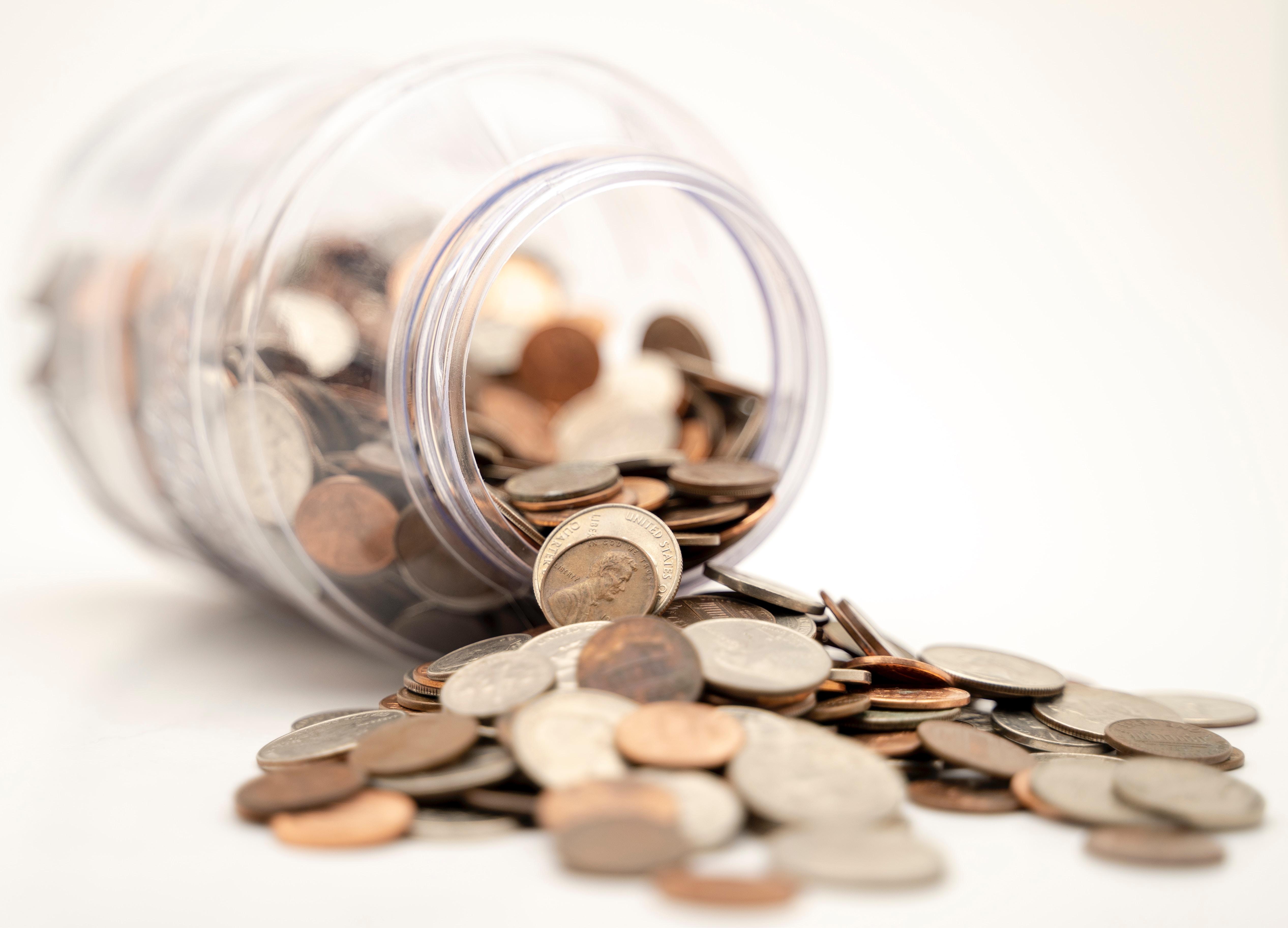 spilled jar of coins